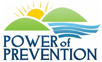 Power of Prevention logo with blue type, green mountains, waves and sun